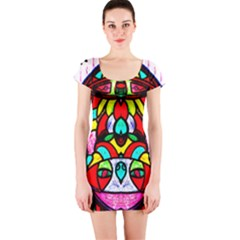 Upside Down Short Sleeve Bodycon Dress