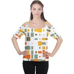 Rectangles and squares in retro colors  Women s Cutout Shoulder Tee
