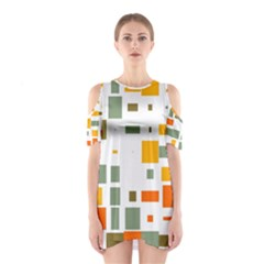 Rectangles and squares in retro colors  Women s Cutout Shoulder Dress