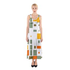Rectangles and squares in retro colors  Full Print Maxi Dress