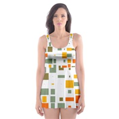 Rectangles and squares in retro colors  Skater Dress Swimsuit