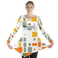 Rectangles and squares in retro colors  Long Sleeve Tunic