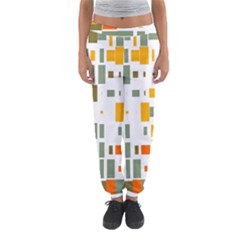 Rectangles and squares in retro colors  Women s Jogger Sweatpants