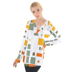 Rectangles and squares in retro colors   Women s Tie Up Tee