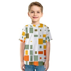 Rectangles And Squares In Retro Colors  Kid s Sport Mesh Tee