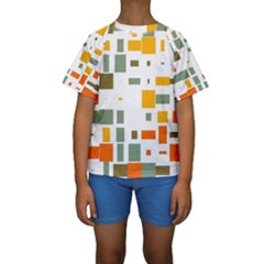 Rectangles and squares in retro colors   Kid s Short Sleeve Swimwear