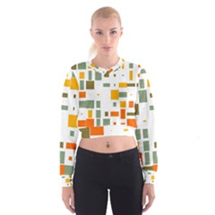 Rectangles and squares in retro colors    Women s Cropped Sweatshirt