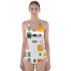 Rectangles and squares in retro colors  Cut-Out One Piece Swimsuit