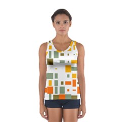 Rectangles And Squares In Retro Colors  Women s Sport Tank Top