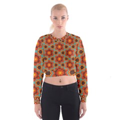 Stars pattern     Women s Cropped Sweatshirt