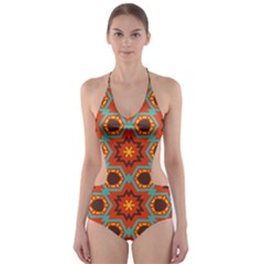 Stars pattern   Cut-Out One Piece Swimsuit