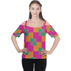 Squares    Women s Cutout Shoulder Tee