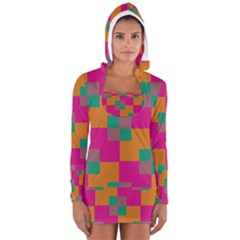 Squares    Women s Long Sleeve Hooded T-shirt