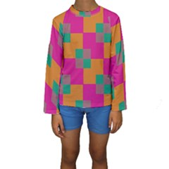 Squares     Kid s Long Sleeve Swimwear