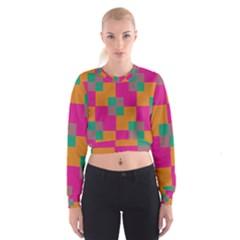 Squares      Women s Cropped Sweatshirt