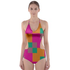 Squares    Cut-Out One Piece Swimsuit