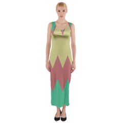 Retro Chevrons     Fitted Maxi Dress