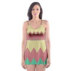 Retro Chevrons     Skater Dress Swimsuit