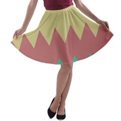 Retro chevrons     A-line Skater Skirt