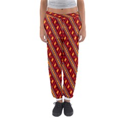 Distorted stripes and rectangles pattern      Women s Jogger Sweatpants