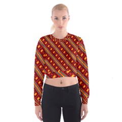 Distorted Stripes And Rectangles Pattern        Women s Cropped Sweatshirt