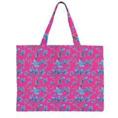 Floral Collage Revival Zipper Large Tote Bag