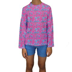 Floral Collage Revival Print Kid s Long Sleeve Swimwear