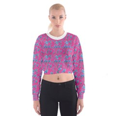 Floral Collage Revival Print Women s Cropped Sweatshirt