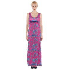 Floral Collage Revival Print Maxi Thigh Split Dress