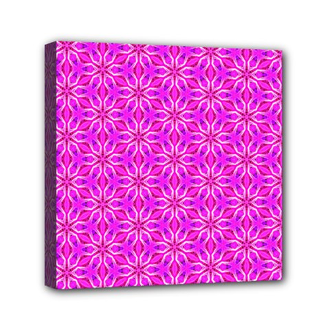 Pink Snowflakes Spinning In Winter Mini Canvas 6  x 6