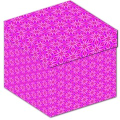 Pink Snowflakes Spinning In Winter Storage Stool 12