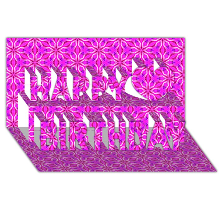Pink Snowflakes Spinning In Winter Happy Birthday 3D Greeting Card (8x4)