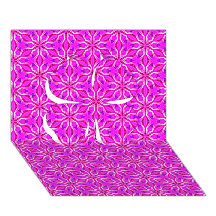 Pink Snowflakes Spinning In Winter Clover 3D Greeting Card (7x5)