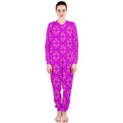 Pink Snowflakes Spinning In Winter OnePiece Jumpsuit (Ladies)
