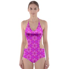 Pink Snowflakes Spinning In Winter Cut-Out One Piece Swimsuit