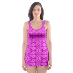 Pink Snowflakes Spinning In Winter Skater Dress Swimsuit