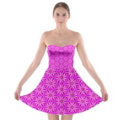 Pink Snowflakes Spinning In Winter Strapless Dresses
