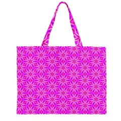 Pink Snowflakes Spinning In Winter Zipper Large Tote Bag