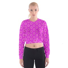 Pink Snowflakes Spinning In Winter Women s Cropped Sweatshirt