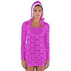 Pink Snowflakes Spinning In Winter Women s Long Sleeve Hooded T-shirt