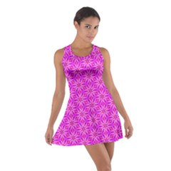Pink Snowflakes Spinning In Winter Racerback Dresses