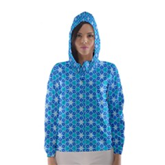 Aqua Hawaiian Stars Under A Night Sky Dance Hooded Wind Breaker (women)
