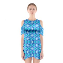 Aqua Hawaiian Stars Under A Night Sky Dance Cutout Shoulder Dress