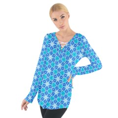 Aqua Hawaiian Stars Under A Night Sky Dance Women s Tie Up Tee