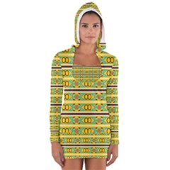 Circles and stripes pattern       Women s Long Sleeve Hooded T-shirt