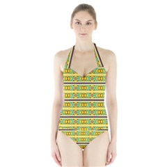 Circles And Stripes Pattern       Women s Halter One Piece Swimsuit