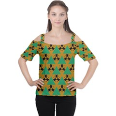 Triangles And Other Shapes Pattern        Women s Cutout Shoulder Tee