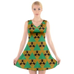 Triangles And Other Shapes Pattern    V Neck Sleeveless Dress