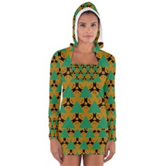 Triangles and other shapes pattern        Women s Long Sleeve Hooded T-shirt