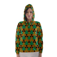 Triangles And Other Shapes Pattern        Hooded Wind Breaker (women)